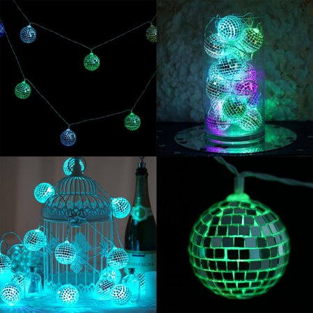 Efavormart 6 Ft 15 Color Changing LED Disco Mirror Ball Battery Operated String Light For Wedding Party Event Decor Tuscan Six Light