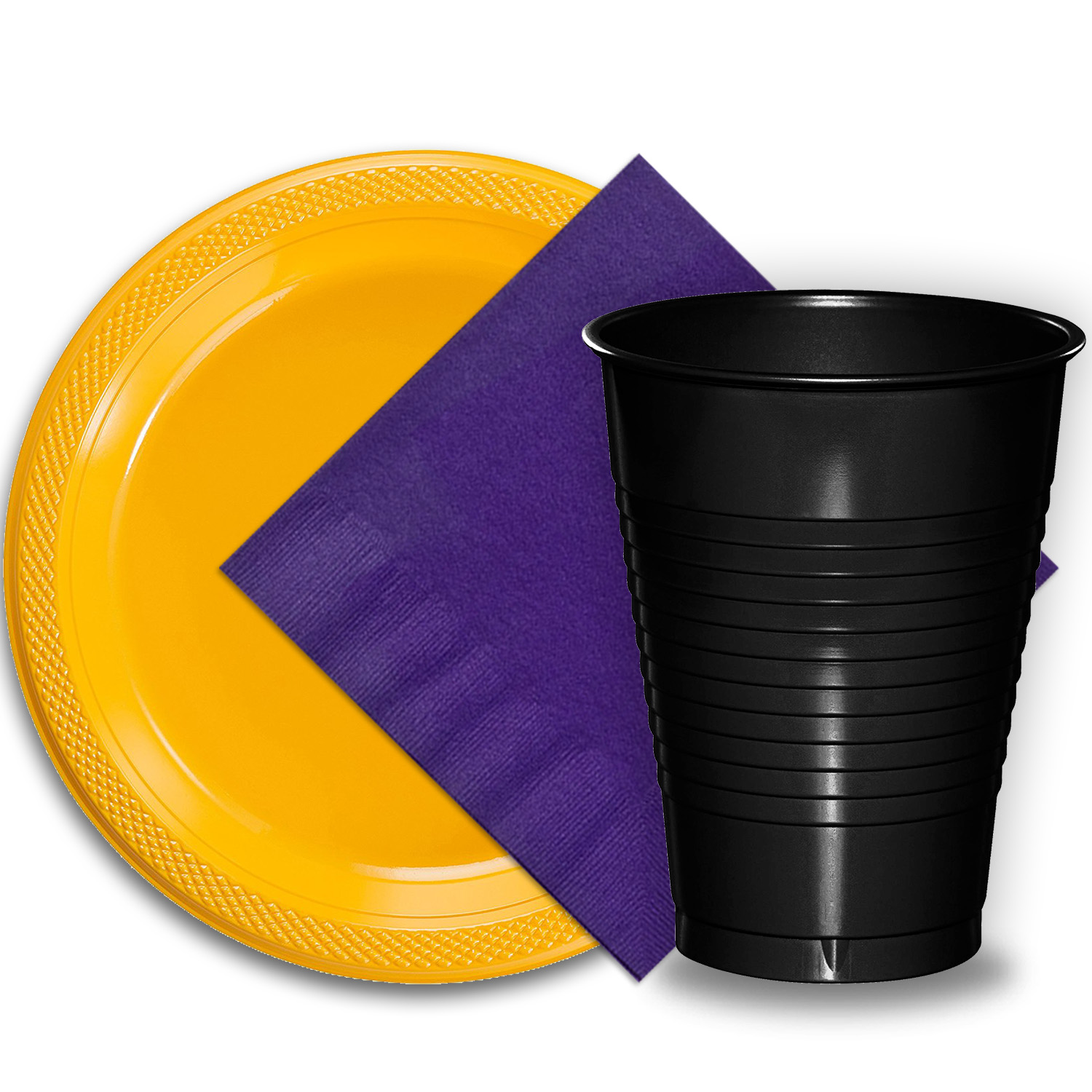 """50 Yellow Plastic Plates (9""""), 50 Black Plastic Cups (12 oz.), and 50 Purple Paper Napkins, Dazzelling Colored Disposable Party Supplies Tableware Set for Fifty Guests."""