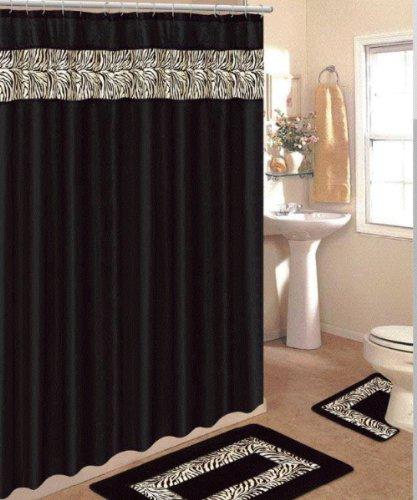 4 Piece Bath Rug Set 3 Piece Black Zebra Bathroom Rugs With Fabric