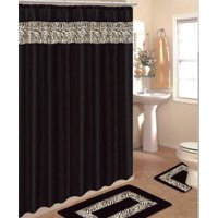 Product Image 4 Piece Bath Rug Set 3 Black Zebra Bathroom Rugs With Fabric Shower Curtain