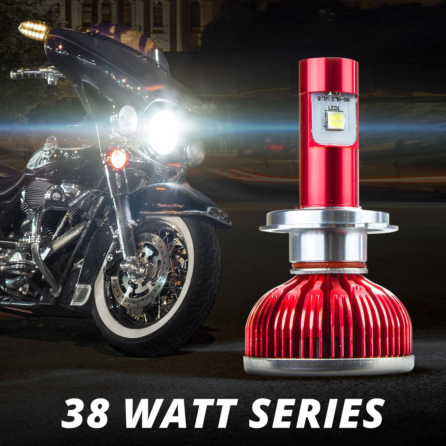 XKGLOW Motorcycle H4 Type 38W Cree LED Headlight Single Bulb