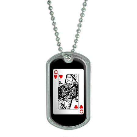 (Playing Cards Queen of Hearts - Poker Dog Tag)