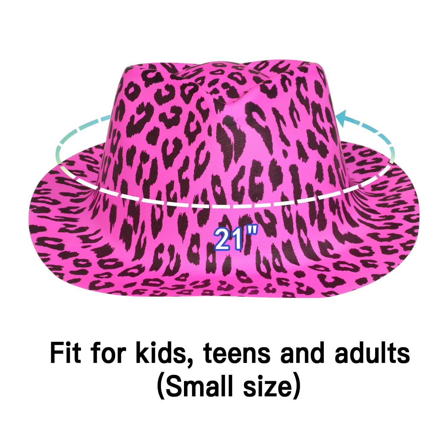 Novelty Place Pack of 24 Party Stars Neon Color Animal Print Plastic Party Hats for Kids Teens and Adult