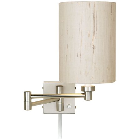 Possini Euro Design Ivory Linen Drum Brushed Nickel Swing Arm with Cord Cover ()