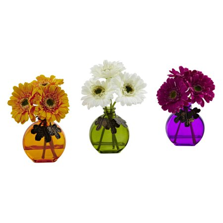 Nearly Natural Gerber Daisy Silk Flower with Glass Vase - Set of 3