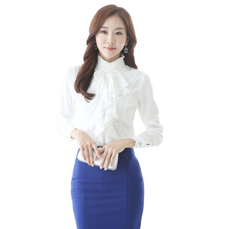 Noble Luxury Victorian Tops Women Shirt Ruffle Flounce Ladies Blouse