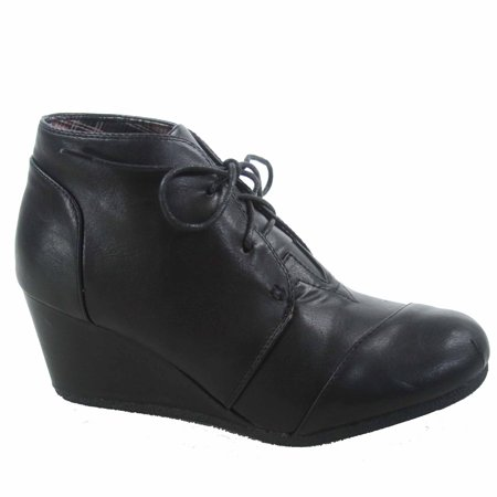 Patricia-1 Women's Casual Oxford Ankle Booties Lace up Low Wedge Shoes