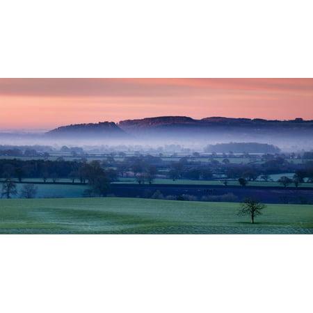 Dawn Illuminates Beeston and Peckforton Castles on Peckforton Sandstone Ridge with Mist Lying Print Wall Art By Garry -