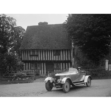 Two women in a AC motor car in front of a Tudor house, c1930s Print Wall Art By Bill Brunell