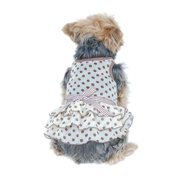 Cute Polka Dot Chiffon Layered Spring and Summer Pets Puppy Teddy Dogs Dress, Small Brown Polka Dot (Gift for Pet)