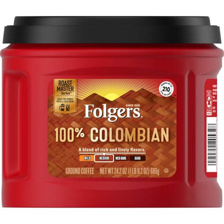 Folgers 100% Colombian, Medium-Dark Roast Ground Coffee, 24.2-Ounce
