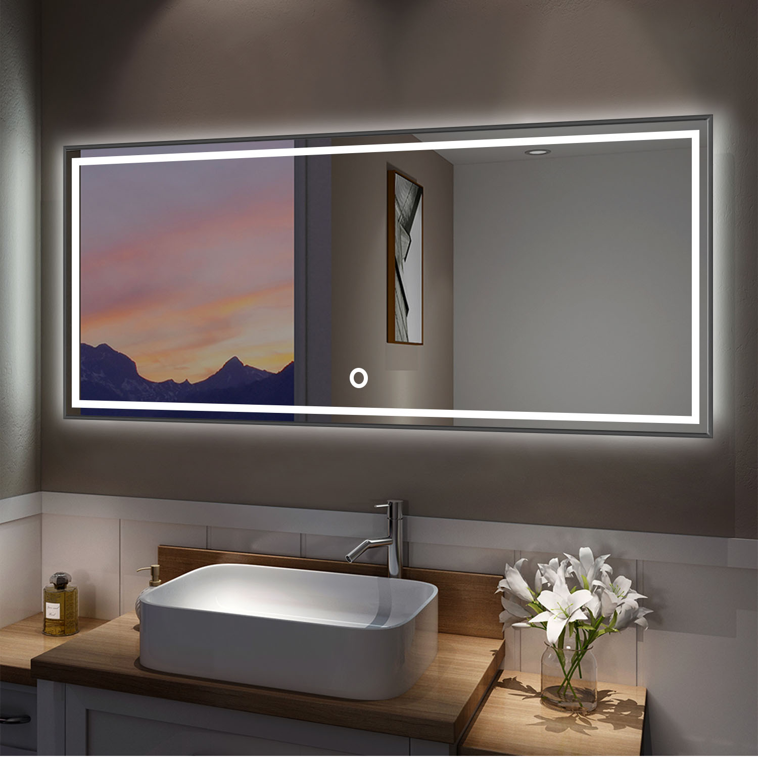 Led Mirror Full Length Mirror Wall Mounted Mirror Vanity Mirror With Lights For Bathroom Bedroom Living Room With Dimming Touch Switch Waterproof Black 47 X 20 Walmart Com Walmart Com