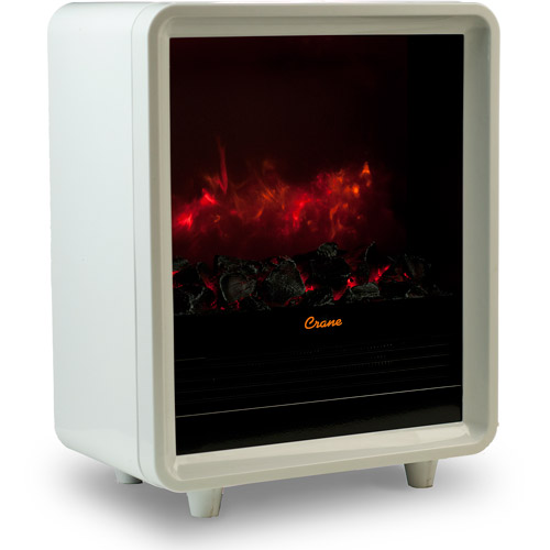 Crane Mini Fireplace Heater, White EE-8075 W