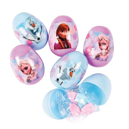 Fun Express - Disney Frozen Filled Plastic Eggs (16pc) for Easter - Party Supplies - Pre - Filled Party Favors - Pre - Filled Plastic Containers - Easter - 16 Pieces (Disney Eggs)