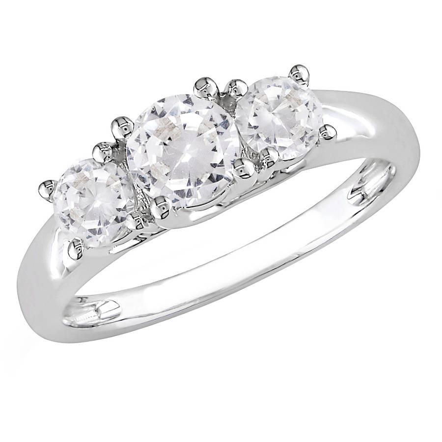 Miabella 1-1/3 Carat T.G.W. Created White Sapphire 10kt White Gold Three Stone Engagement Ring