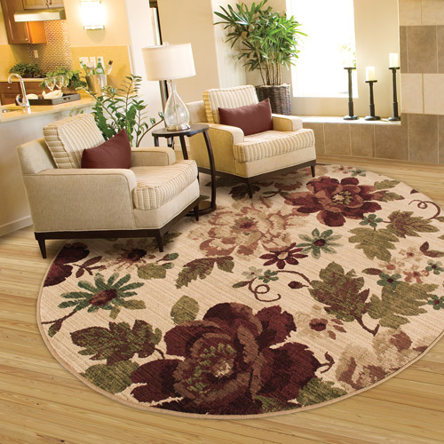 Better Homes and Gardens Floral Olefin Round Rug, 7'10""