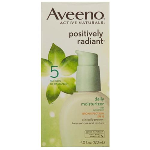 AVEENO Active Naturals Positively Radiant Daily Moisturizer SPF 15 4 oz (Pack of 4)