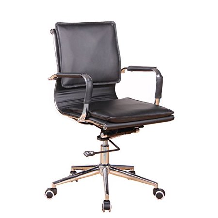 Office factor Black Bonded Leather Modern Contemporary Managers Executive Desk Office Chair Polyurethane Casters for Hard Floor and Carpet