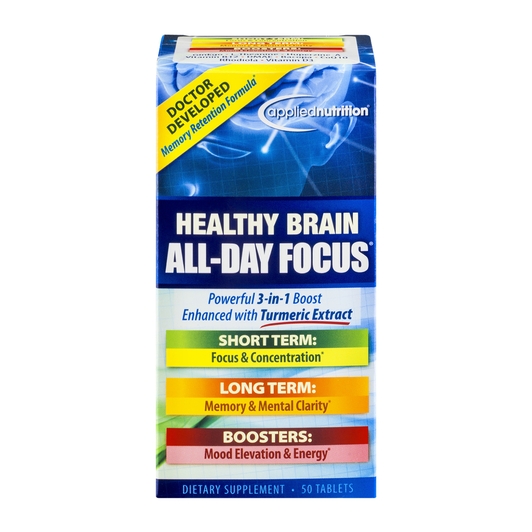 Applied Nutrition Healthy Brain All-Day Focus Dietary Supsplement Tablets - 50 CT50.0 CT