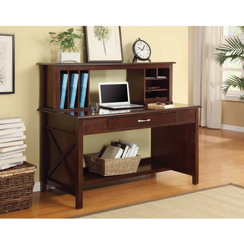 Office Star Adeline Desk with Hutch, Mocha