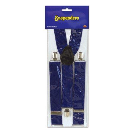 Club Pack of 12 Patriotic Dark Blue Adjustable Suspender Costume - Suspender Costumes