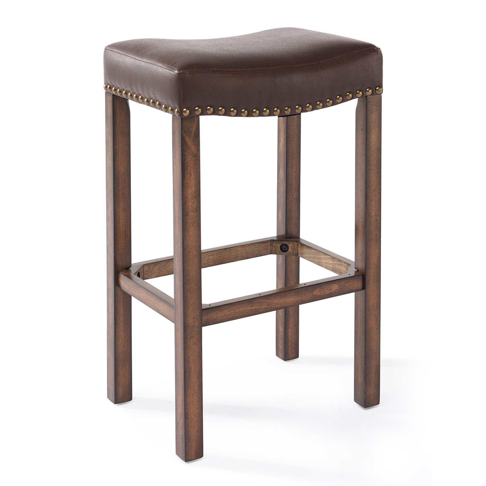 """Armen Living Tudor 26"""" Counter Height Wood Backless Barstool in Chestnut Finish and Kahlua Pu"""
