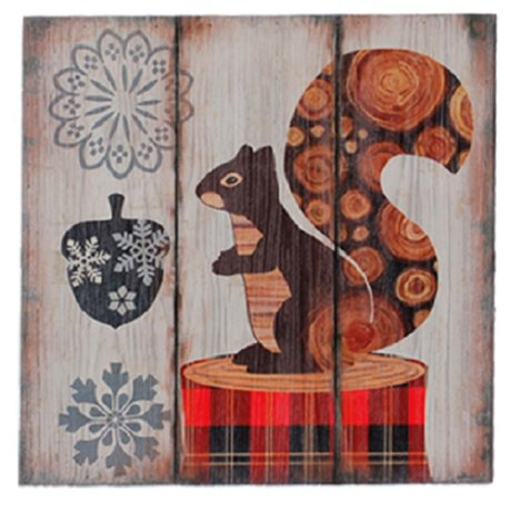 Alpine chic plaid red fox sur bois avec snowflakes for Decoration murale walmart