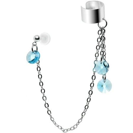 Blue Crystal Ear Cuff (Body Candy Handcrafted Light Blue Accent Tragus Ear Cuff Chain Set Created with Swarovski)