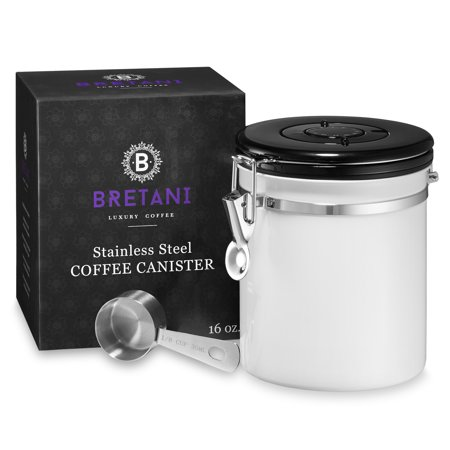 Bretani 16 oz. Stainless Steel Coffee Canister & Scoop Set - Medium Airtight Kitchen Storage Container for Storing Beans &