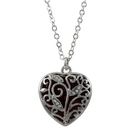 Dlux Jewels Garnet Color Heart Filigree Pendant with White Crystals & Rhodium Plated Brass Chain Necklace, 21 x 21.5 mm ()