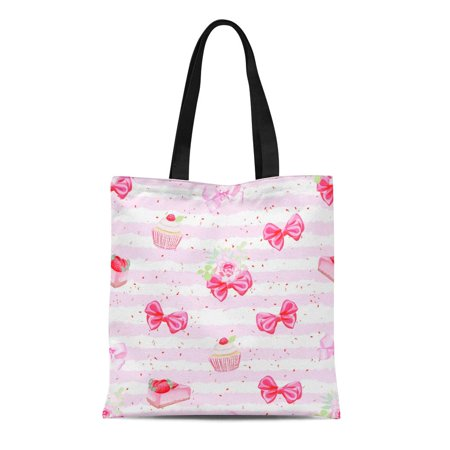 HATIART Canvas Tote Bag Pink Cute Romantic Fresh Pastries and Red Bows Pattern Reusable Shoulder Grocery Shopping Bags Handbag - image 1 of 1