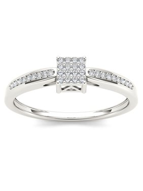 1/10 Ct T.W. Diamond Cluster 10kt White Gold Engagement Ring