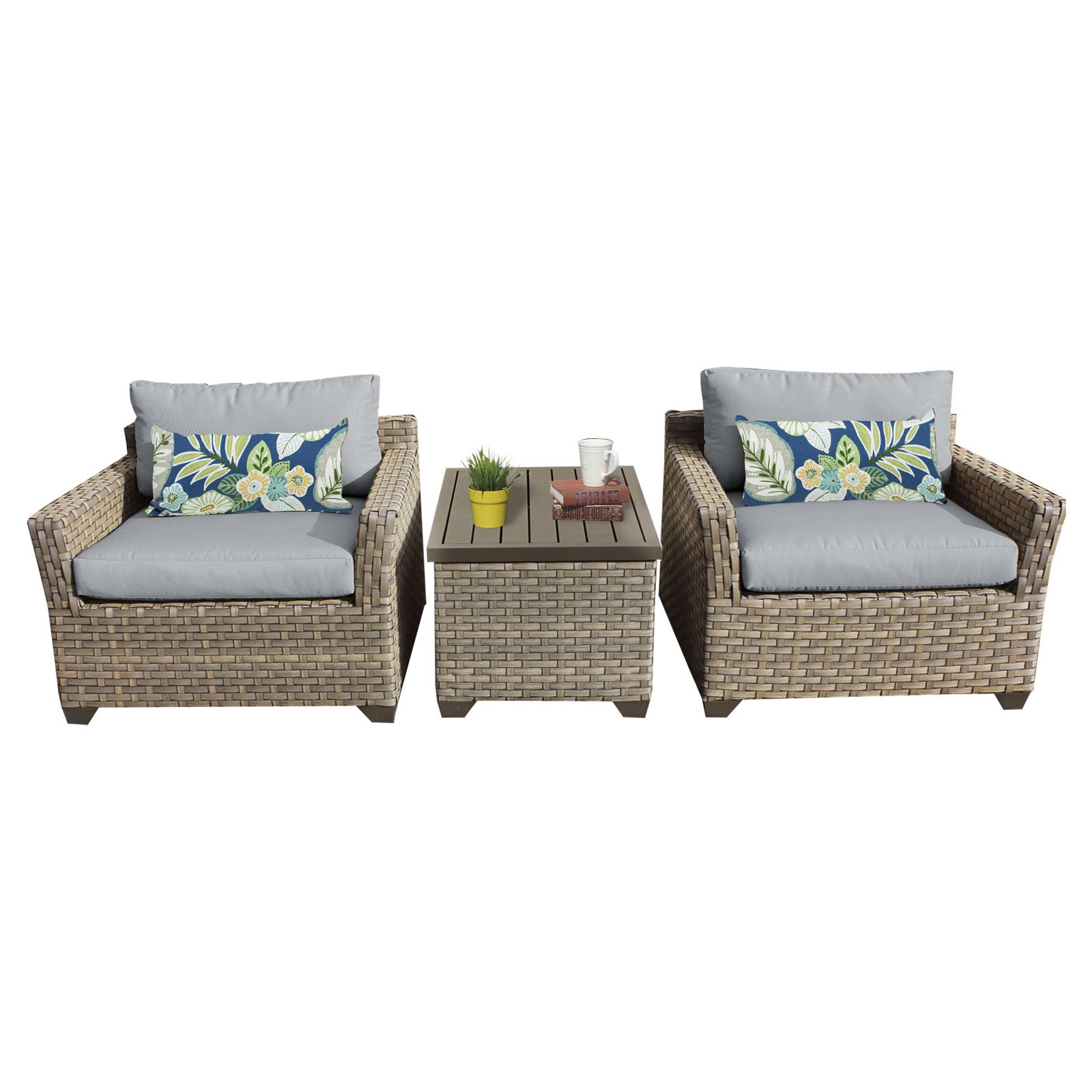 TK Classics Monterey Wicker 3 Piece Patio Conversation Set with 2 Sets of Cushion