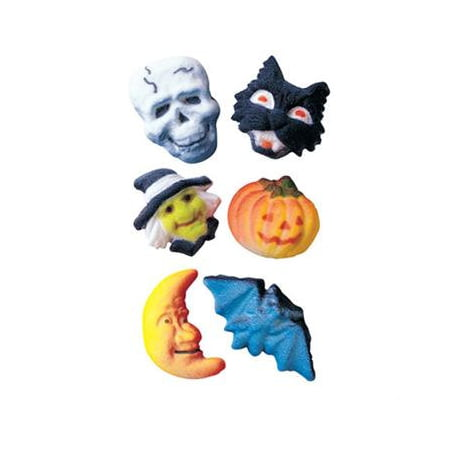 Deluxe Halloween Assortment Sugar Decorations Toppers Cupcake Cake Cookies 12 Count - Halloween Cupcake Faces