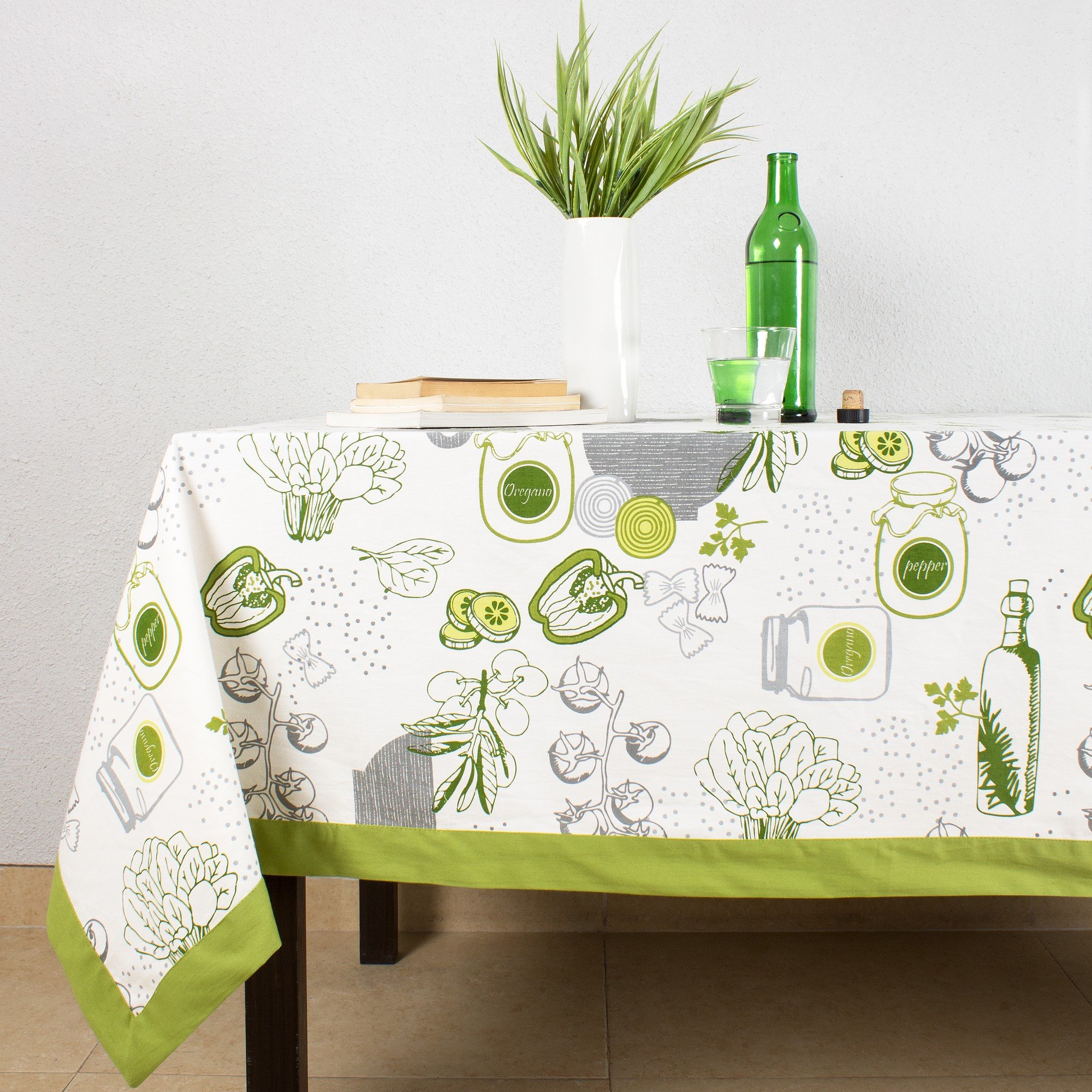 House This ® 100% Cotton Tablecloth, Gourmet Salad Design, Kitchen Linen Dinner  Table Cover, Green, 60 In X 90 In   Walmart.com