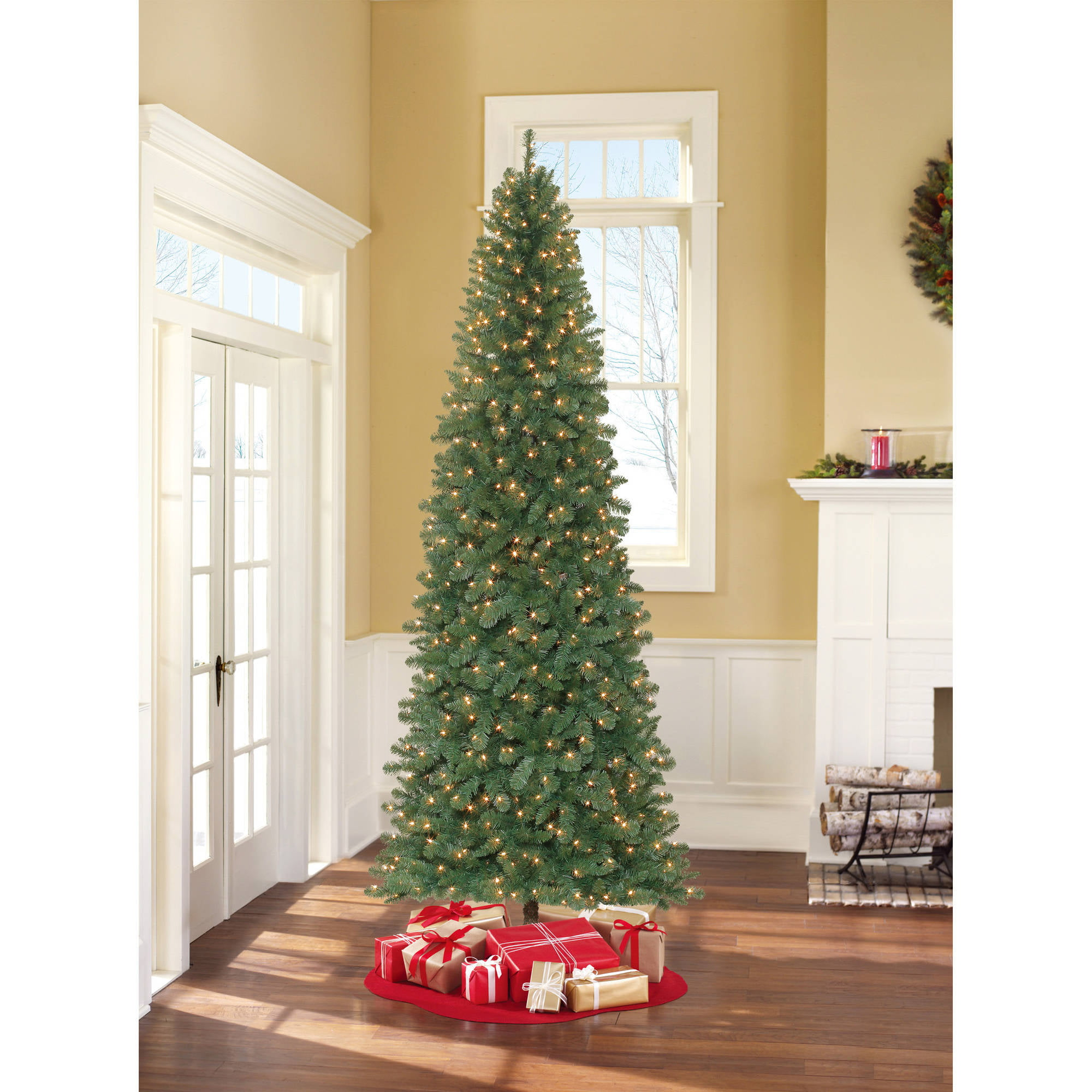 4 pre lit blue tinsel artificial christmas tree clear lights walmartcom - Pre Lit Christmas Trees