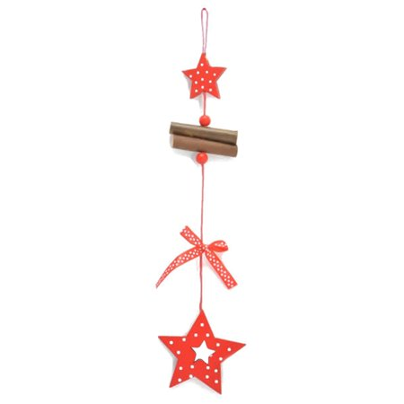 AkoaDa 2Pcs\/Lot Vogue Diy Red Merry Christmas Tree Love Snowflake Star Long Wooden Pendant For Xmas Tree Hanging Home Living New Year Birthday Party Wedding Ornaments Kids Gifts ()