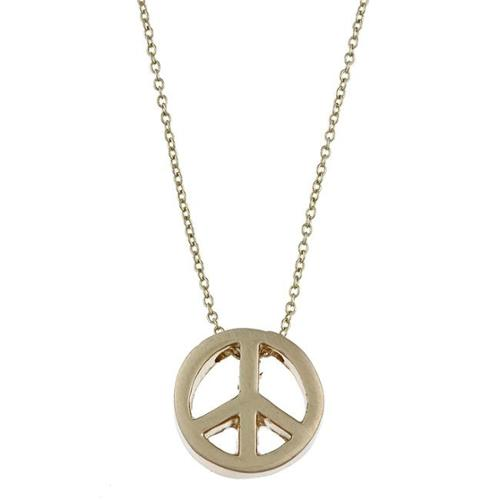 Zirconmania 629P-11818G Gold Tone Peace Charm Necklace
