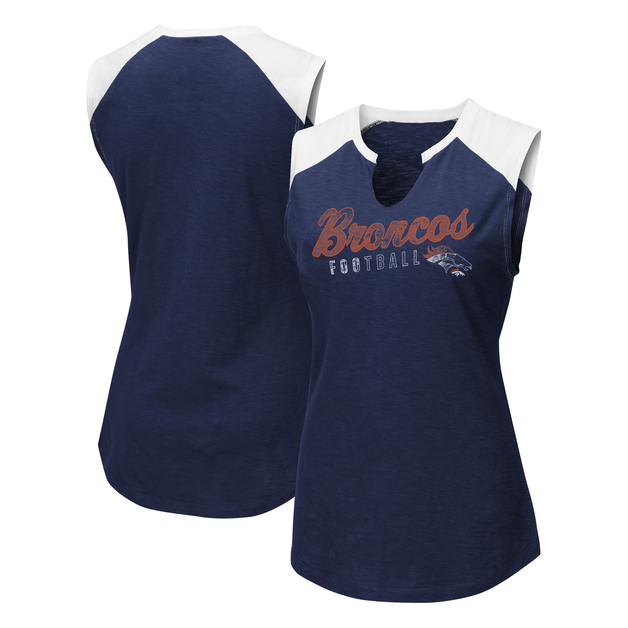 Denver Broncos Majestic Women's V-Notch Muscle Tank Top - Navy/White