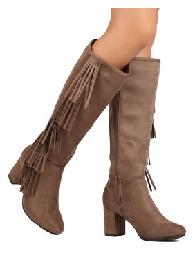 City-02 Women Faux Suede Knee High Falling Cascading Fringe Chunky Heel Boot