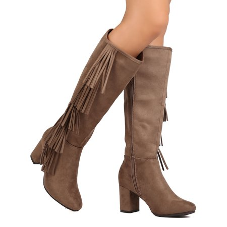 City-02 Women Faux Suede Knee High Falling Cascading Fringe Chunky Heel - Chunky Knee High Heels