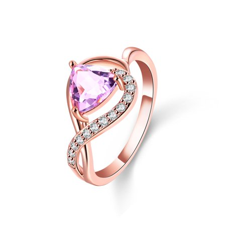 Trillion Crystal - 18K Rose Gold Plated Genuine Trillion Shaped Pink Amethyst & Crystal Ring