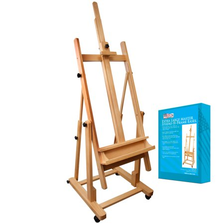 US Art Supply MALIBU H-Frame Deluxe Adjustable Wood Studio Easel w/ Tilt Paint](Wood Easel)