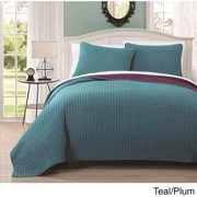 Project Runway Embroidered Reversable 3-piece Quilt Set King Teal/ Plum