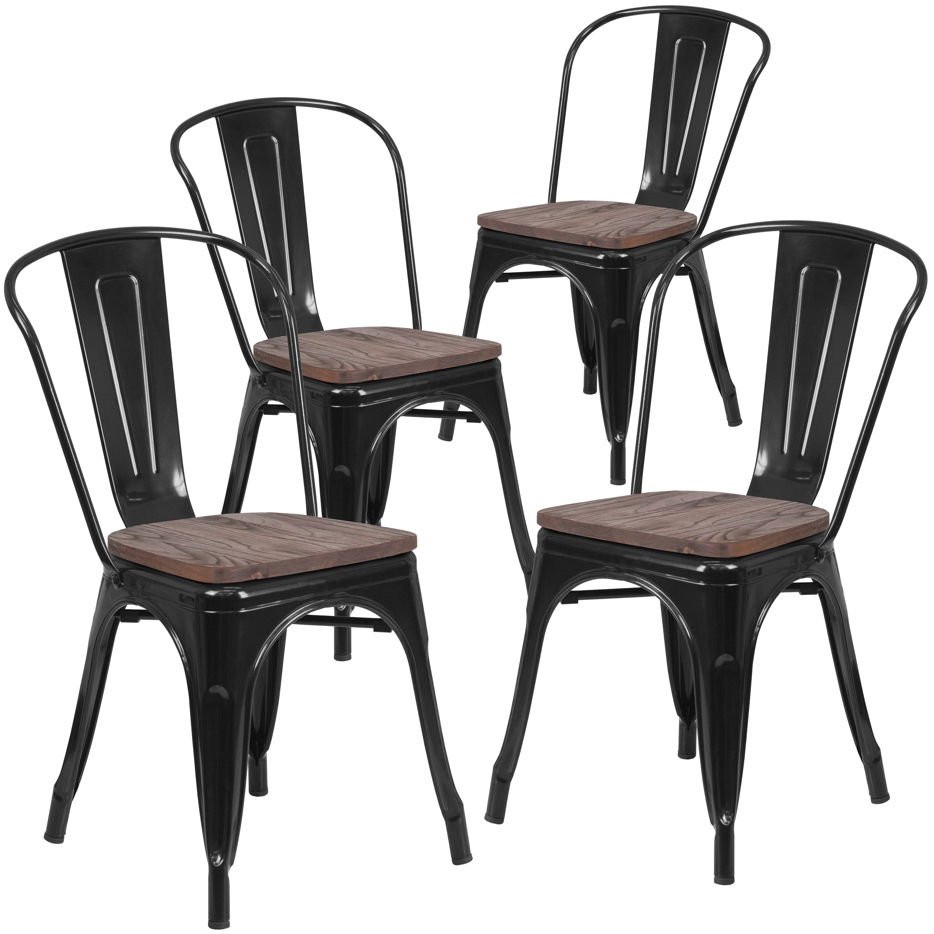 Flash Furniture 4 Pk. Black Metal Stackable Chair with Wood Seat