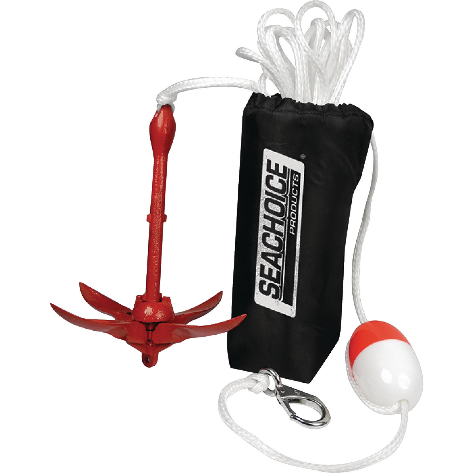 """Seachoice 3.5 lb. Grapnel Anchor Kit For Boats 5 to 12' (Includes Anchor, 1/4"""" x 25' Line, Adjustable Buoy, S/S Hook and Storage Bag)"""