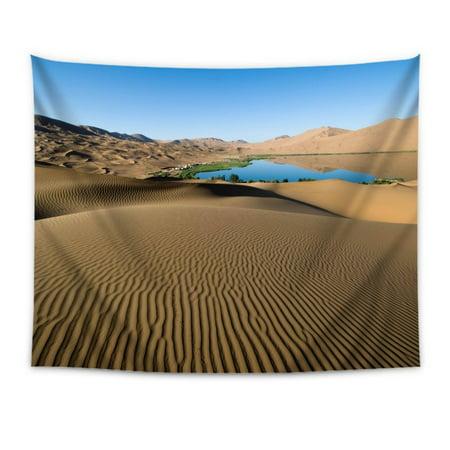 POPCreation Desert Sand Patterns Lines Oasis Lake Coast Vegetation Tapestry Wall Hanging Bedspread Dorm Tapestry Decorative Wall Hanging 51 X 60 (Oasis Decorative Wall Hanging)