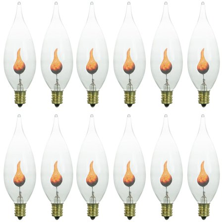 Sunlite Incandescent 3 W Chandelier Clear Orange Flicker Candelabra Bulb 12 Pack (Jubilee Three Candelabra)