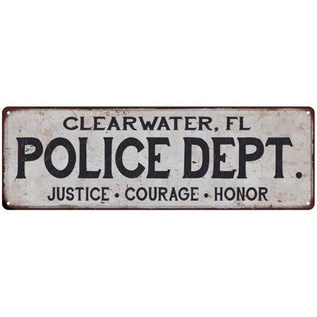 Party City In Clearwater Fl (CLEARWATER, FL POLICE DEPT. Home Decor Metal Sign Gift 6x18)