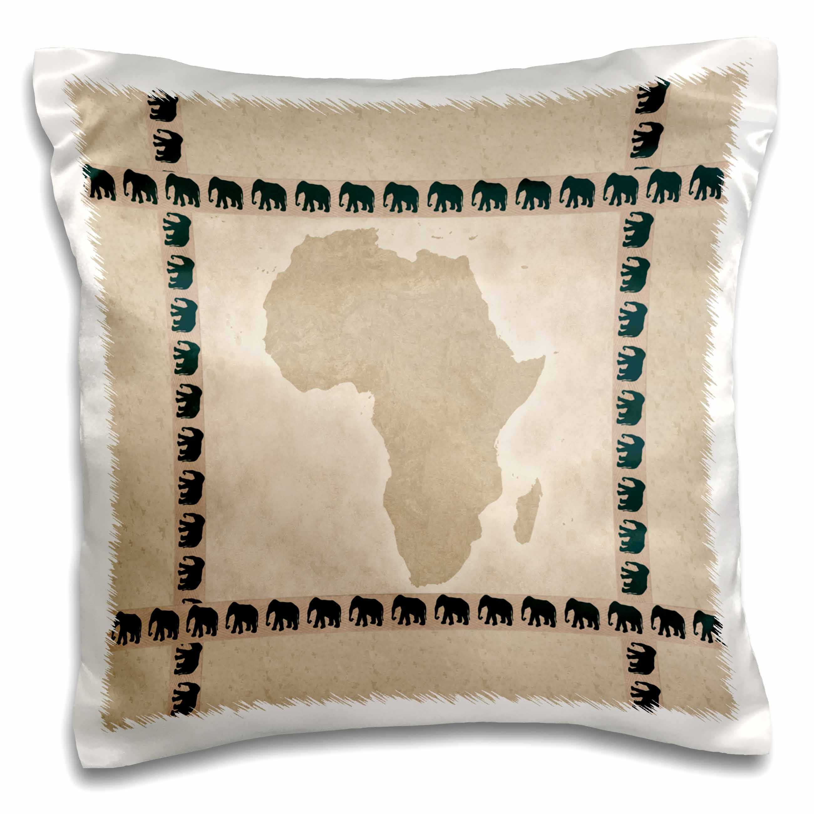 3dRose Africa with Elephants, Pillow Case, 16 by 16-inch